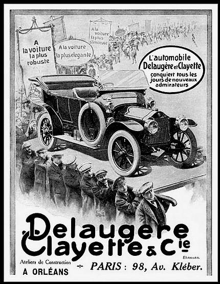 Delaugere Clayette Automobile Orleans et Paris - Publicite Automobile de 1913