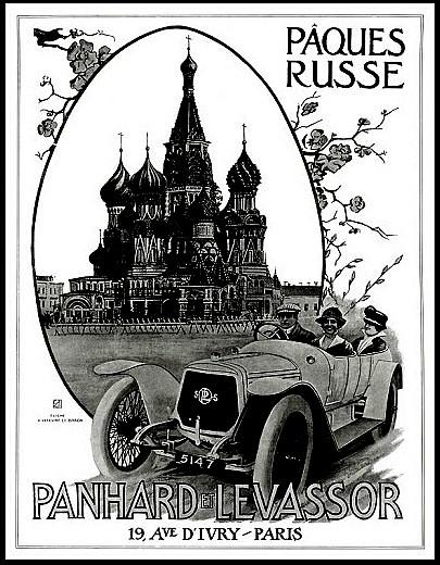 Panhard et Levassor Paques Russe en decapotable - Publicite Automobile de 1914